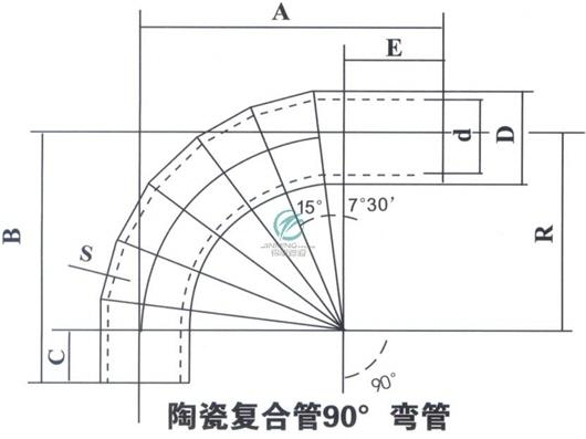 陶瓷复合管90度弯管平面图